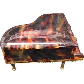 Early 20th Century Tortoise Shell Grand Piano Functional Music Box