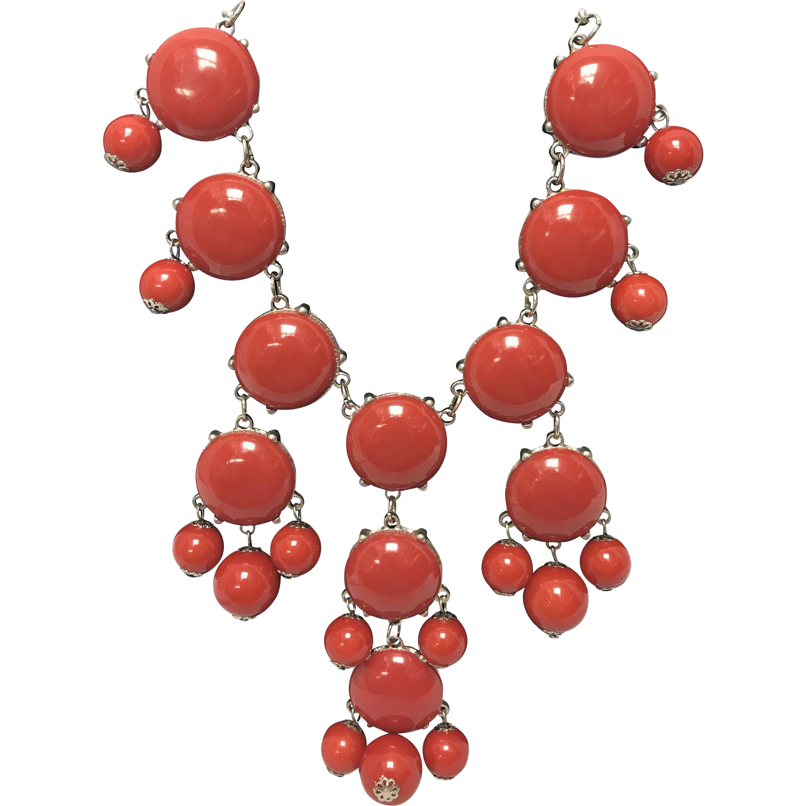 Vintage Costume Coral Color Statement Necklace