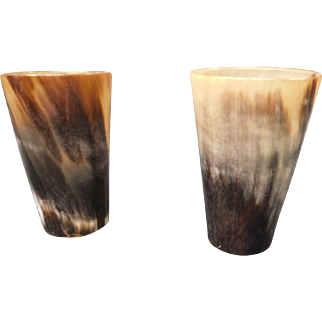 Victorian Era Horn Tumblers Cups as a Pair
