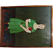"Erwin Neusch Vintage Painting, ""Girl in Green Dress"""
