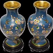 Chinese Cloissone Vase Set