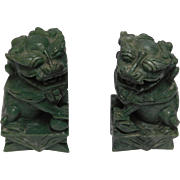 Chinese Onyx Foo Dog Bookends