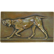 Bronze Plaque with Walking Dog by artist Victor Peter