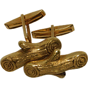 14K Yellow Gold Log Cufflinks
