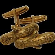 14K Yellow Gold Log Cufflinks