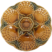French Majolica Oyster Plate by Sarreguemines / Utzschneider & Co.