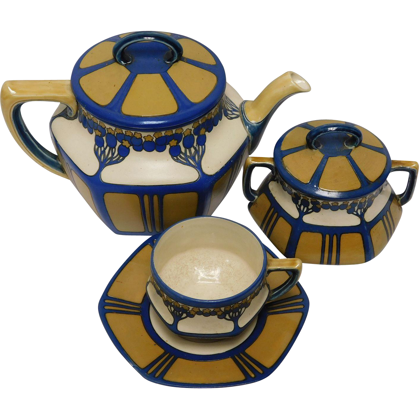 Mettlach Tea Set of Large Teapot, Covered Sugar, and Cup & Saucer