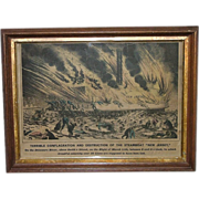 "Rare Hand Colored Antique Original 1856 Print Of Destruction Of The Steamboat "" New Jersey """