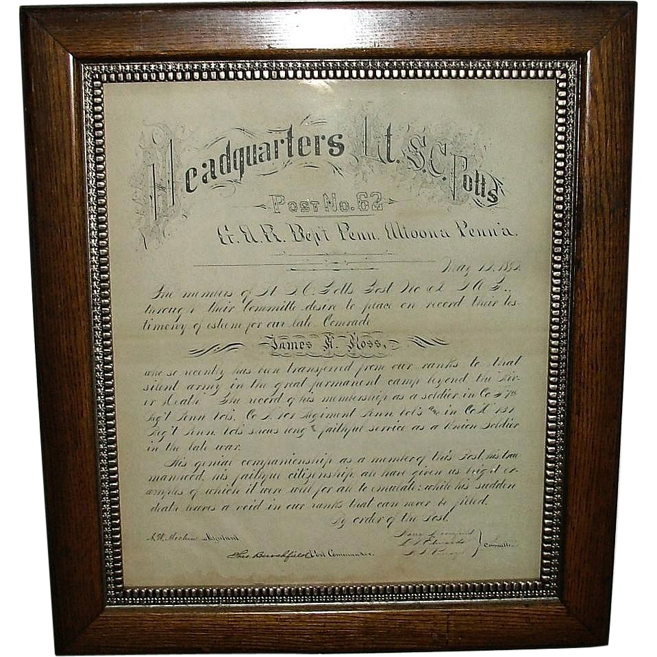 Rare Ink Calligraphy of Civil War Veteran's G.A.R. Altoona, Pa. Post # 62 Memorial ; Hand Inked Military Record For Surviving Family !!!