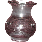 "Civil War Period Mint Engraved ""Oregon"" or Astral Type Shade Circa 1860's !  Rare base fitter size is 3 3/8 inches."