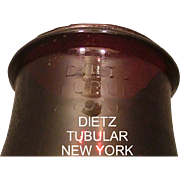 "Rare  ""DIETZ"" Colored Pigeon Blood Red within an oval which is not within the 1914 patented Lantern Globe !"