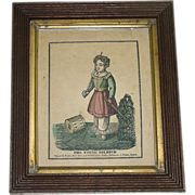 """Early American Primitive """"The Young Soldier"""" Hand Colored & Framed Print !"""