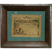 "Civil War Period Framed & Dated 1862 ""Certificate of Appreciation"" from Hospital in Philadelphia  !"