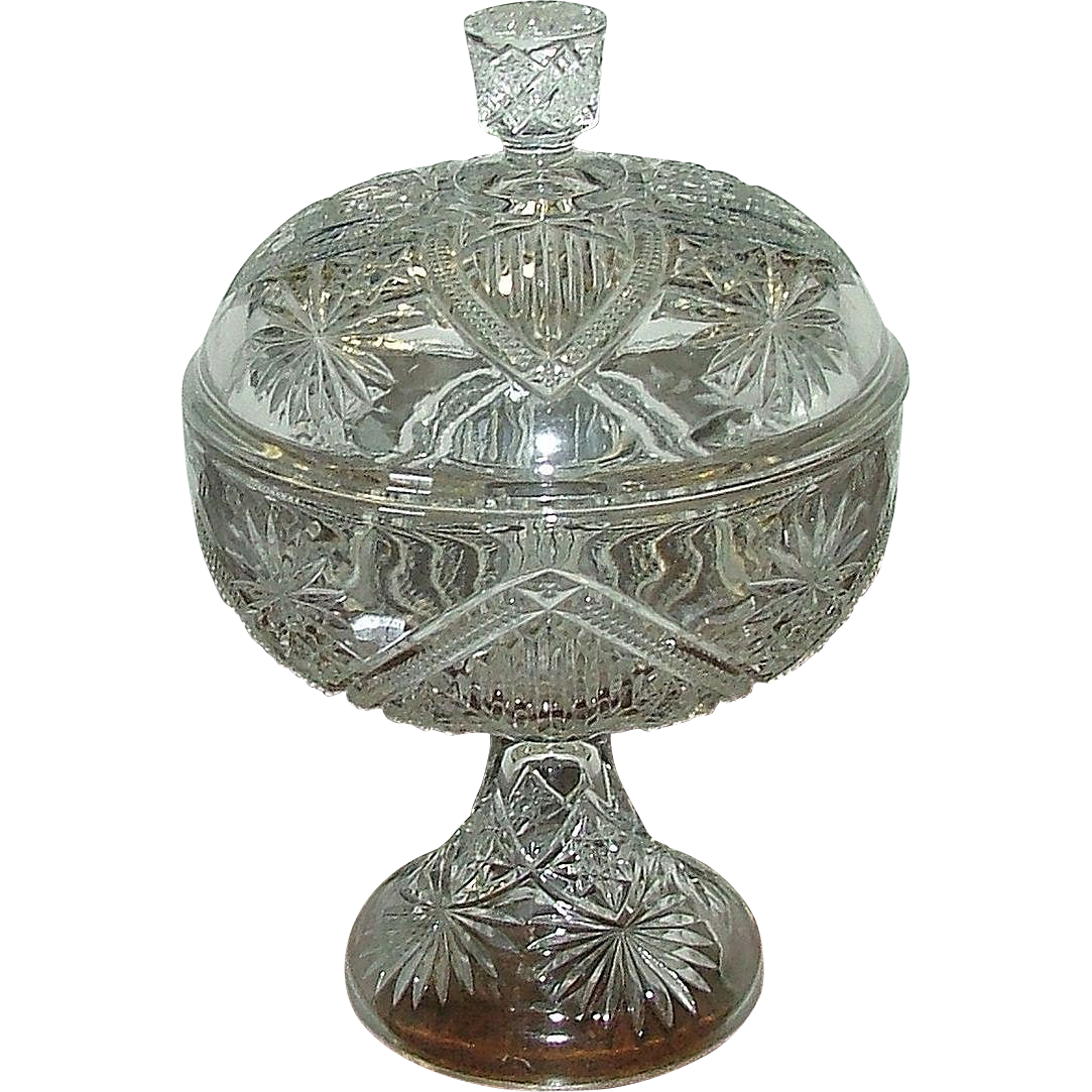 "Rare EAPG ""Shield & Stars"" Sweetmeat Covered Dish with Footed Base !"