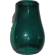 "Original marked ""Dietz Fitzall * NY.""   Teal Green Glass Lantern Globe with ""Loc-Nob * Reg'd in U.S.A."""