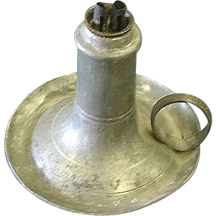 American Conical Pewter Whale Oil Finger Lamp !
