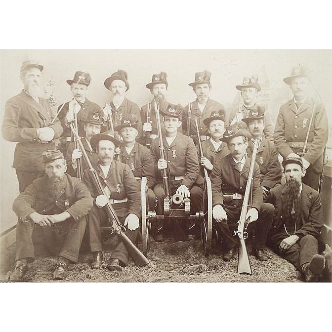 G.A.R POST # 385 Honor Guard from Williamsport,Pa. Civil War Veterans Group Photo Circa 1880.
