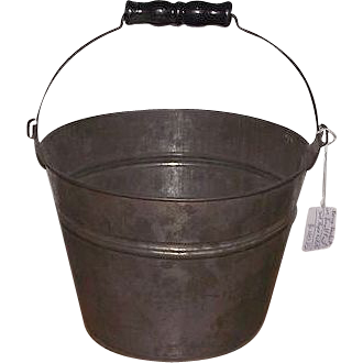 Tinsmith Hand Made Small 5 1/2 inch Bucket with Black Painted Wood Roller Handle !