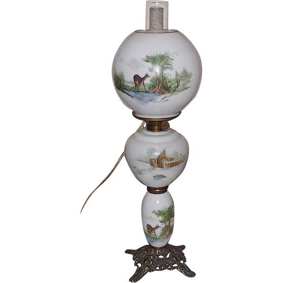 "Electrified Hand Painted GWTW Banquet or Parlor Lamp with Ball Shade Artist Signed ""H.G. Moser""  !"