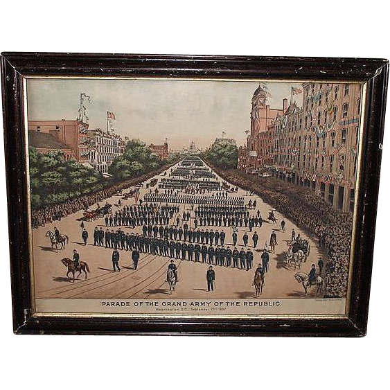 "G.A.R. ""Parade of the Grand Army of the Republic Washington D.C. Sept.20th,1892"" Vibrant Colorized Lithographed Print by: Keystone Pub. Co. Phila.!"