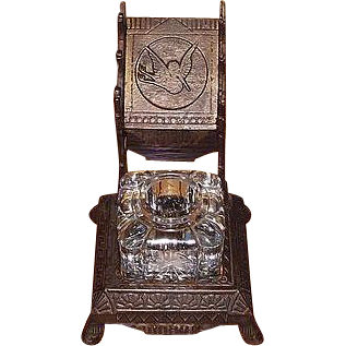 """Eastlake Design """"Crane"""" with Original Japanned Finished Cast Iron Inkwell with Triple Pen Rack !"""