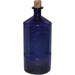 Free Blown Apothecary Cobalt Blue Glass Bottle !!! Civil War Period Poison Bottle.