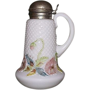 """Mint """"Diamond Quilted White Glass Syrup Dispenser"""" with a Pastel Colored Floral Border & original Nickel Plated Metal Lid !  Ca. 1900."""