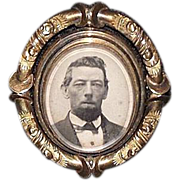 "14 Karat Gold Convert-able ""Mourning Broach"" with Man's Photo & Reversable Hair Locket under Beveled Glass !"