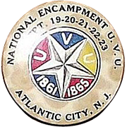 44th National Encampment 1910 Civil War Veterans U.V.U. Dated Sept. 19,20,21,22,23. Atlantic City,NJ. Pinback Button.
