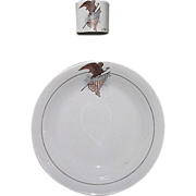 """Rare Patriotic """"U.S. Eagle & Shield"""" Wall Pocket Match Holder & Matching Decorated Bowl  !!!  Harker Pottery Co. East Liverpool, Ohio Circa 1890."""
