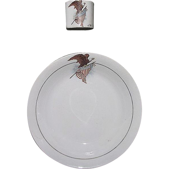 "Rare Patriotic ""U.S. Eagle & Shield"" Wall Pocket Match Holder & Matching Decorated Bowl  !!!  Harker Pottery Co. East Liverpool, Ohio Circa 1890."