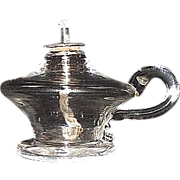 """Early Free Blown Glass """"Miniature Sparking Lamp"""" Complete with Drop in Whale Oil Burner  !!!   Ca. 1830's."""