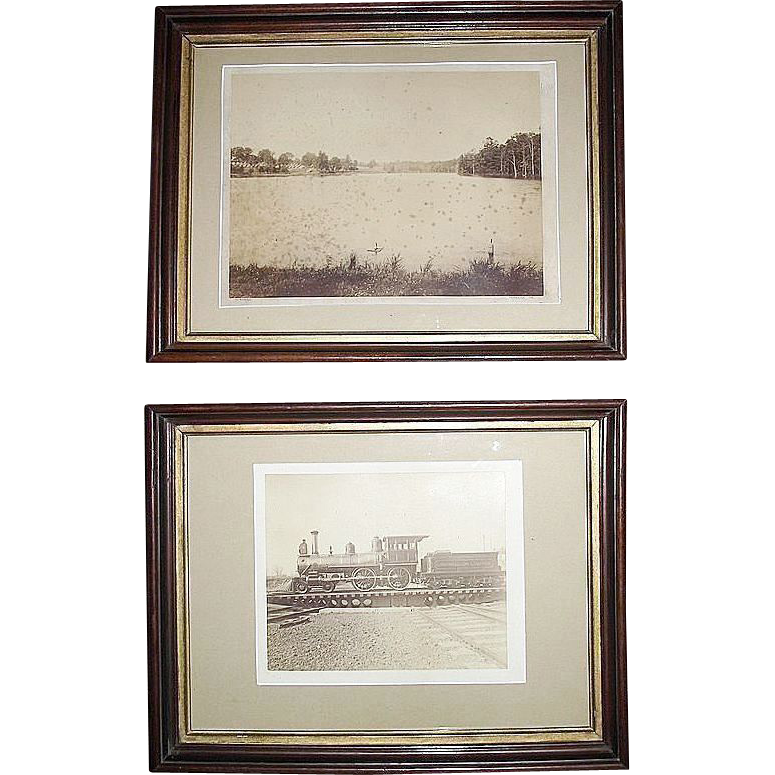 "Pair of Framed ""Cornwall & Lebanon Railroad"" Sepia Photos, # 6 Locomotive and the Narrow Gauge Train running at Camp Coleman !!!   Both  Ca. 1880 to 1893."