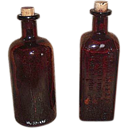"Embossed ""Schlotterbeck & Foss Co."" & ""Mulford Laboratories"" Drug Store Dark Amber Glass Bottles !"