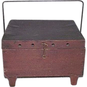 "Primitive Whale Oil ""Foot Warmer"" with Original Red Stained Wood Exterior &  Tinsmith Fitted Interior !!!  Circa  Mid-19th Century."