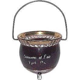 "Gold Trim & Red Flashed ""Souvenir of Fair York,Pa."" Glass Kettle complete with a Wire Bail Handle with tripod glass feet. !  America's Oldest  Fair  Dates 245 years."