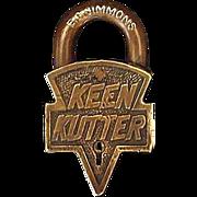 """Original """"Keen Kutter"""" Brass Padlock Prod. St.Louis,USA. 12-19-05 & 01-2-06 Patent # D37771. No Key."""