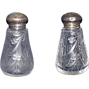 Early Engraved Blown / Molded Glass Lead Crystal Salt & Pepper Shakers with Sterling Silver Caps !  Ca. 1880.