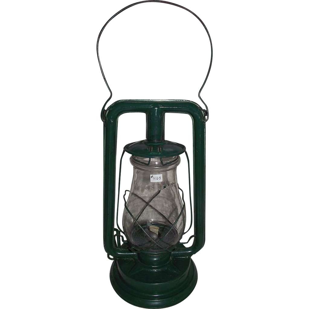 """Paull's Leader No. 0"" Lantern with a Very Nice Green Enamel  Paint !"