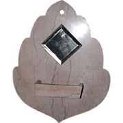 "Wall mounted ""Comb Case & Mirror"" in actual Cut Marble Leaf shaped  !!!"
