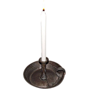 "Museum Quality Tinsmith ""Candle Stick Holder"" aka ""Chamber Stick"" with the original Tin Extinguisher on Chain !"