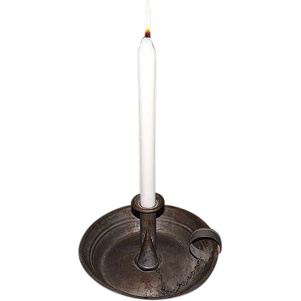 """Museum Quality Tinsmith """"Candle Stick Holder"""" aka """"Chamber Stick"""" with the original Tin Extinguisher on Chain !"""