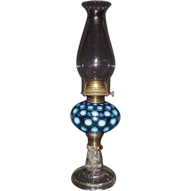 "Hobbs White & Blue ""Inverted Thumbprint Fount""  with  Rare ""Detroit  End of Day Spatter Glass Base"" Oil Lamp with Petal Top Chimney !!! Ca. 1891."