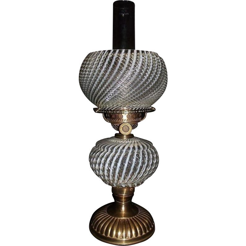 """Super Rare Opalescent """"Sheldon Swirl Shade & Lamp"""" with Great Red Brass Patina !!!"""