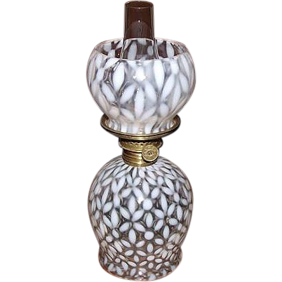 "Miniature  White Opalescent ""Snowflakes"" Pattern Miniature Oil Lamp with Original Shade !!!"