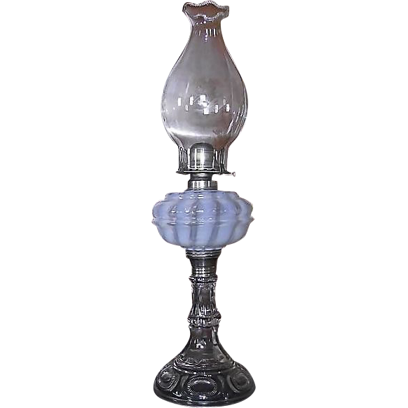 "Rare ""Nickel Plate Glass Company"" Opalescent White Banquet Oil Lamp #101  !!!  Ca. 1893."
