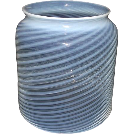 "Mint Blown Optic 5 inch Cylindrical Glass ""White Swirls"" Hall Lamp Shade made with White Stripes & Blue tint over Clear Glass !  Ca. 1890."