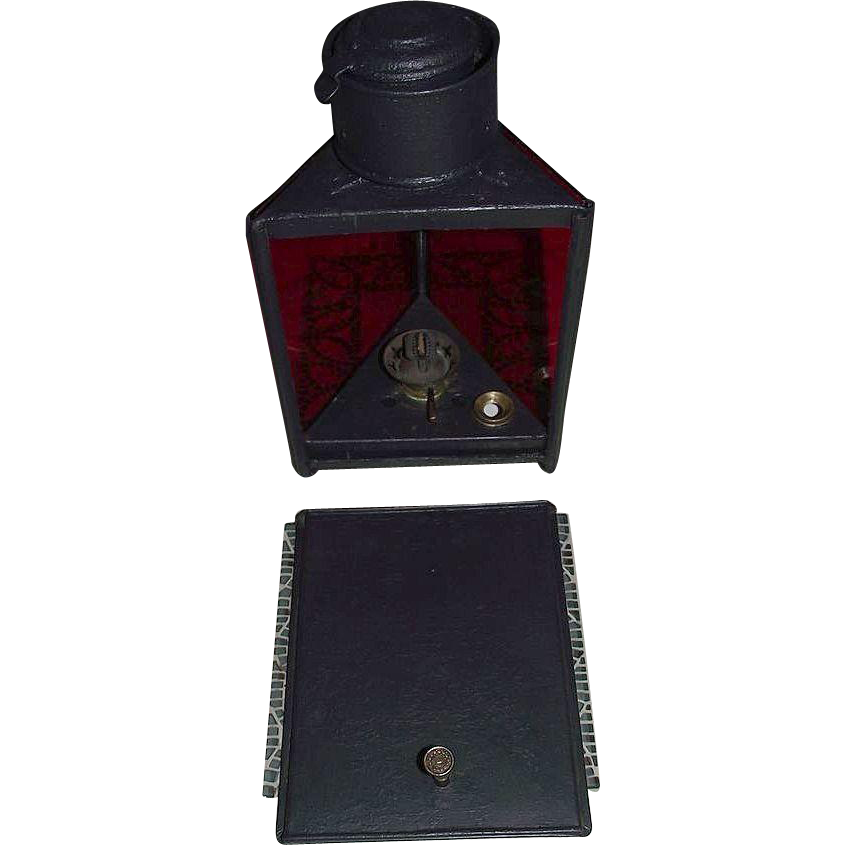 "Rare Triangular Lantern marked ""The Darkroom Paragon Lamp"" on Match Striker !!!"