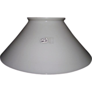 Antique 12 inch Blown White Glass Slant Shade with 5 inch Rolled Top Lip Fitter !