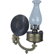 "Restored Early model ""Bradley's Factory Security Lamp"" tag marked  & ""Pat. Apl'd For"" on Wall Arm Bracket  with Tin Reflector  !!! Ca. 1890's."